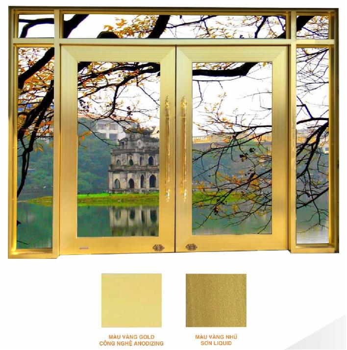 Hệ cửa thủy lực màu vang Gold